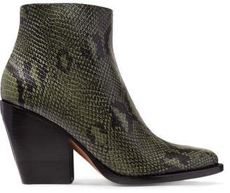 Chloé Rylee Snake-effect Leather Ankle Boots - Dark green