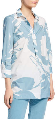 Piazza Sempione Graphic-Print Henley Tunic, Blue