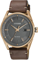 Citizen Men's Drive Brown Leather Strap Watch 42mm BM6983-00H