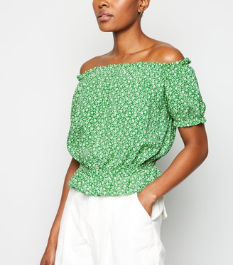 New Look Ditsy Floral Peplum Bardot Top