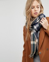 Pieces Brushed Check Scarf In Navy Mix