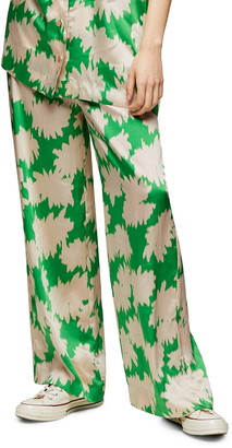 Topshop Floral Print High Waist Wide Leg Trousers