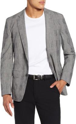 BOSS Halwon Trim Fit Plaid Stretch Cotton Blend Sport Coat