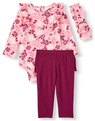 Miniville Baby Girl Long Sleeve Ruffle Bodysuit, Bow-back Leggings & Headband, 3pc Outfit Set