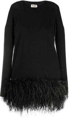 Saint Laurent Feather Hem Mini Dress