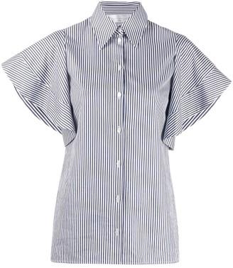 Victoria Victoria Beckham striped ruffled-sleeve shirt