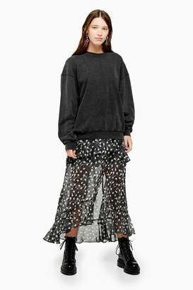 Topshop Womens Petite Black Star Ruffle Maxi Skirt - Black