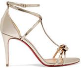 Christian Louboutin Blakissima 85 Bow-embellished Metallic Leather Sandals - Silver
