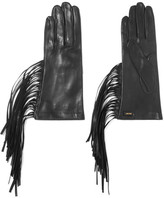Prada Fringed Leather Gloves - Black