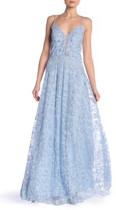 Marina Glitter Mesh Sleeveless Dress