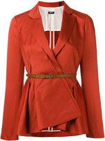 Jil Sander Navy belted peplum blazer - women - Cotton/Linen/Flax/Acetate/Cupro - 36