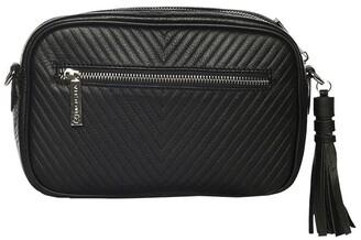 Mocha Chevron Box Leather Crossbody Bag - Black