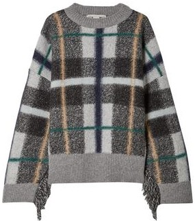 Stella McCartney Fringe-trimmed Checked Wool-blend Sweater