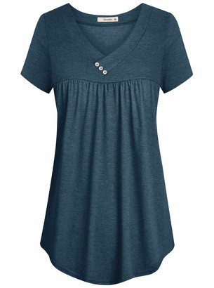 Cyanstyle Flowy Shirts for Women Ladies Short Sleeve Tops Round Hem V Collar Petite Button-up Blouse Classy Beautiful Drapes Cotton Knit Basic Cool Summer Daily Wear Clothes Navy Blue L