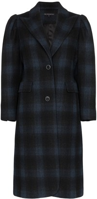 Blindness Single-Breasted Check Wool Coat