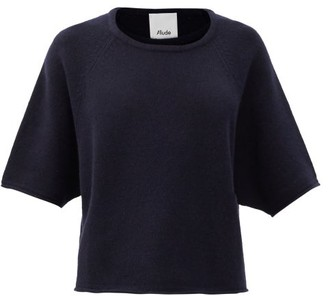 Allude Cropped-sleeve Cashmere Sweater - Dark Navy