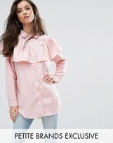 Missguided Petite Stripe Frill Long Sleeve Collared Shirt