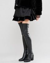 Daisy Street Black Thigh High Heeled Over The Knee Boots