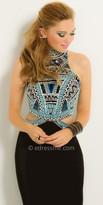 Camille La Vie Aztec Beaded Halter Cutout Jersey Prom Dress