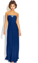B. Darlin Juniors' Pleated Embellished Gown, A Macy's Exclusive