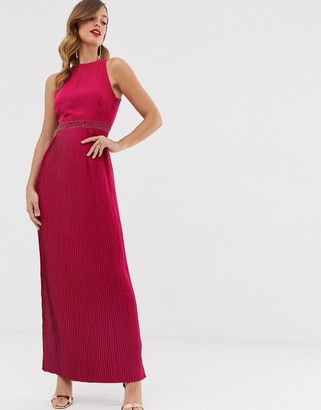 Little Mistress high neck pleated maxi dress-Red