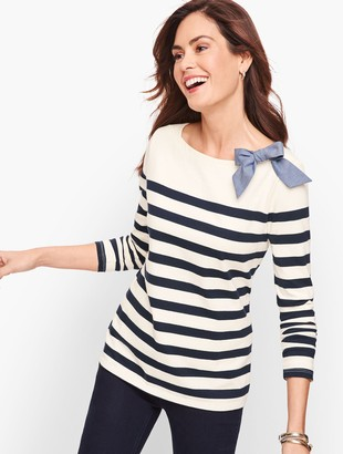 Talbots Chambray Bow Stripe Top