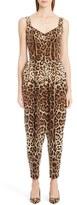 Dolce & Gabbana Leopard Print Stretch Cady Jumpsuit
