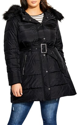City Chic Puffa Removable Faux Fur Trim Hooded Coat