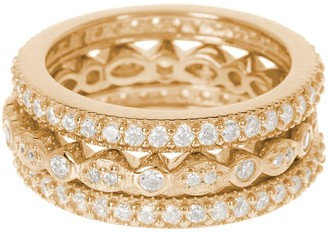 Sterling Forever 14K Yellow Gold Plated Sterling Silver CZ Band Ring 3-Piece Set