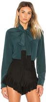 Equipment Essential Tie Neck Button Up in Dark Green. - size L (also in M,S,XS)