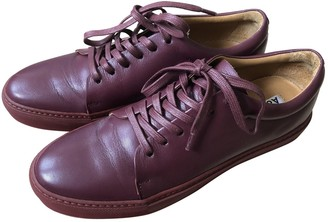 Acne Studios Burgundy Leather Trainers