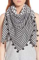 Eileen Fisher Eileen Fringe Mixed Check Square Scarf