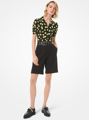 Michael Kors Collection Lemon Silk Crepe de Chine Camp Shirt