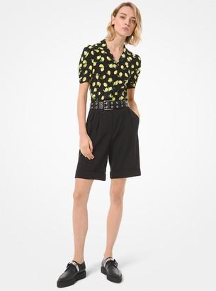 Michael Kors Lemon Silk Crepe de Chine Camp Shirt
