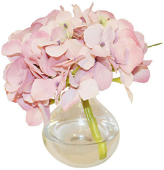 "8"" Hydrangea in Bubble Vase - Faux - The French Bee - arrangement, pink; vessel, clear"