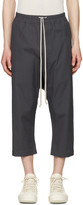 Rick Owens Grey Cropped Drawstring Trousers