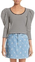 Marc Jacobs Women's Stripe Cotton Puff Sleeve Top