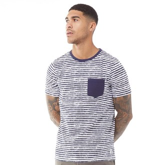 Fluid Mens Striped T-Shirt Navy/White