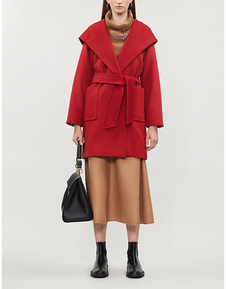 Max Mara Ladies Red Camel Hair Patch Pocket Luxury Rialto Hooded Coat, Size: 6