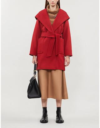 Max Mara Ladies Red Textured Luxury Rialto Hooded Camel Hair Coat, Size: 12