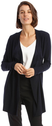 Basque Drape-Front Cardigan In Midnight Blue