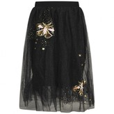 Black Skirt With Gold Sequin Butterflies