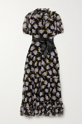 Erdem Elinor Satin-trimmed Tiered Floral-print Silk-chiffon Midi Dress - Black