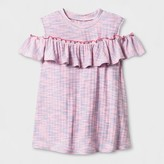 art class Girls' Striped Cold Shoulder Ruffle Top - Art Class Multi Stripe