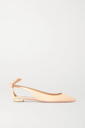 Aquazzura Deneuve Bow-embellished Leather Point-toe Flats - Ivory