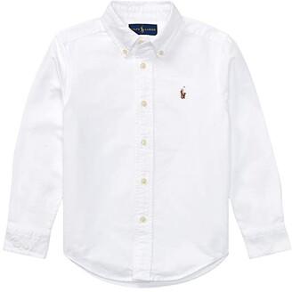 Polo Ralph Lauren Kids Cotton Oxford Sport Shirt (Toddler) (White) Boy's Long Sleeve Button Up