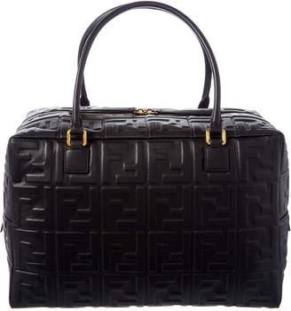 Fendi Ff Embossed Leather Boston Bag