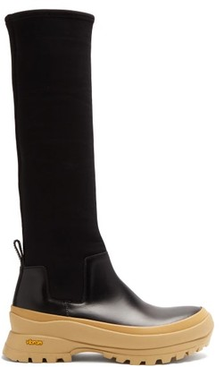 Jil Sander Leather And Scuba-jersey Boots - Black/white
