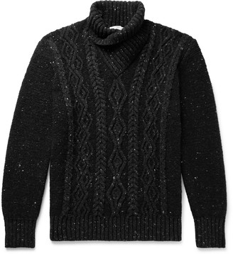Inis Meáin Shawl-Collar Cable-Knit Merino Wool And Cashmere-Blend Sweater
