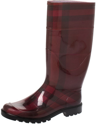 Burberry Red Novacheck Rubber Rain Boots Size 38